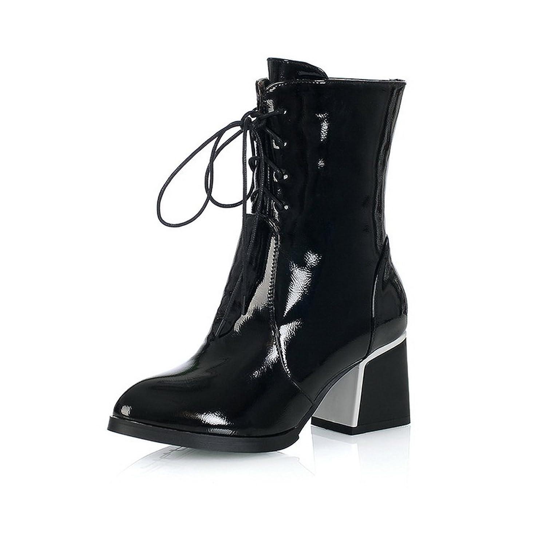 1TO9 Girls Bandage Kitten-Heels Round Toe Imitated Leather Boots