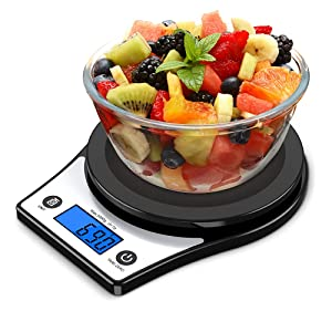 Food Scale, Digital Kitchen Scale for Cooking, Baking 1g/0.01oz Precise Graduation Multiple Units Grams and Oz, up to 5Kg/10Lb Weight with Backlit Display (Black)
