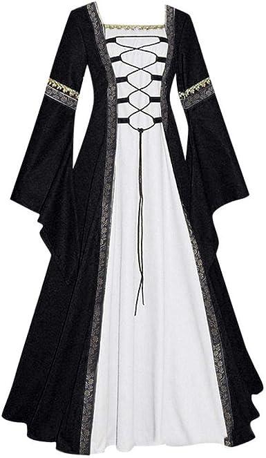 Firally - Vestido Largo para Mujer, Estilo Vintage Celta, Medieval ...