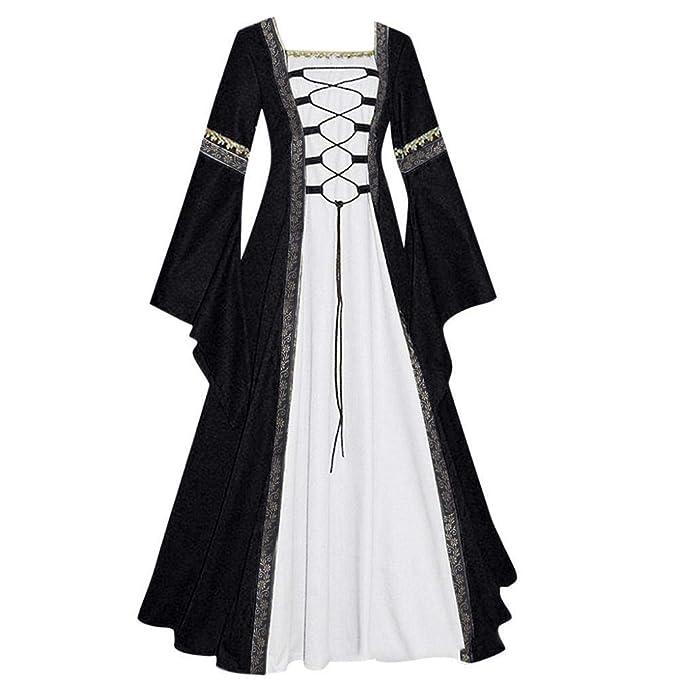 Firally - Vestido Largo para Mujer, Estilo Vintage Celta, Medieval para el Suelo, Estilo gótico