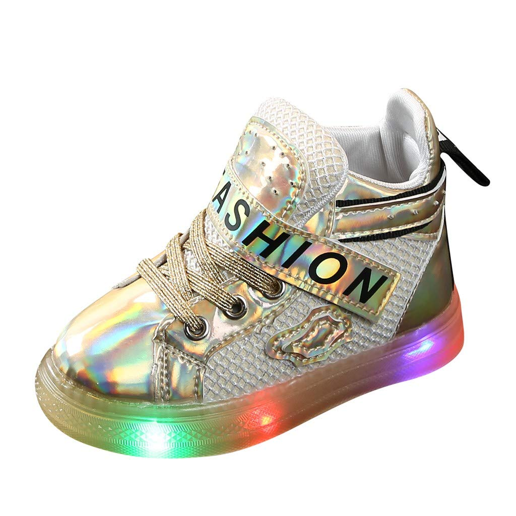 Kids Shoes Running Shoes Led Luminous Sport Sneakers Short Boots Booties Shoes Athletic Walking Sneakers Slip-on Shoes for Boys and Girls Sport Shoes Sneakers by Lucoo Baby Shoes