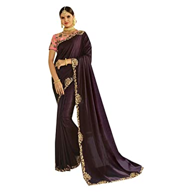 29f649ec33c104 Amazon.com: Indian Ethnic Plain Saree With Heavy Blouse Hit Combination Sari  Party Wear Collection 7370: Clothing