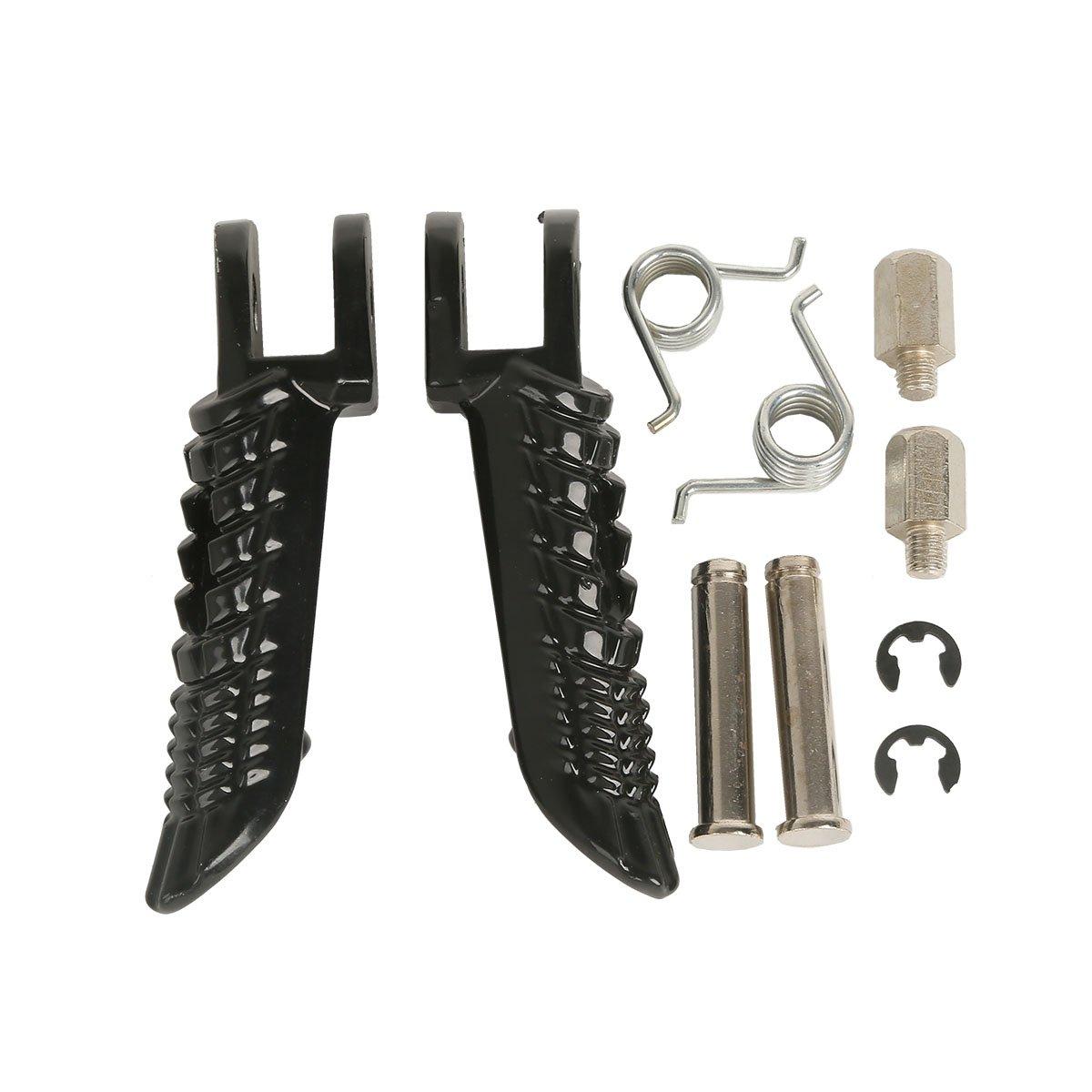 TCMT Black Front Foot Pegs Motorcycle Footpeg Footrest Bracket Set Fits For Suzuki GSXR600 GSXR 600 2001 2002 2003 2004 2005 2006 2007 2008 2009 2010 2011 2012 2013 2014