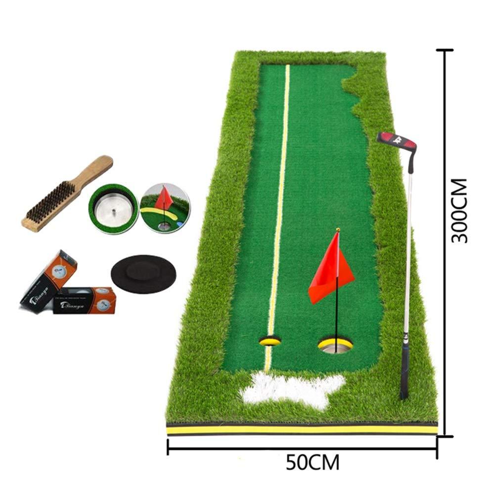 WENZHE ゴルフマット パターマット 練習器具 ネット パット トレーナー EVAバックプレーン クラブで 折りたたみ可能 ポータブル、 2サイズ オプション 300x50cm Green B07L7J2LKF