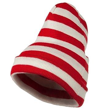 7952ec8d1e4cb Red White Wide Stripe Cuff Beanie - Red White OSFM  Amazon.in  Toys   Games