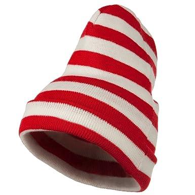 Red White Wide Stripe Cuff Beanie - Red White OSFM at Amazon Men s ... 3bc0c44cb88