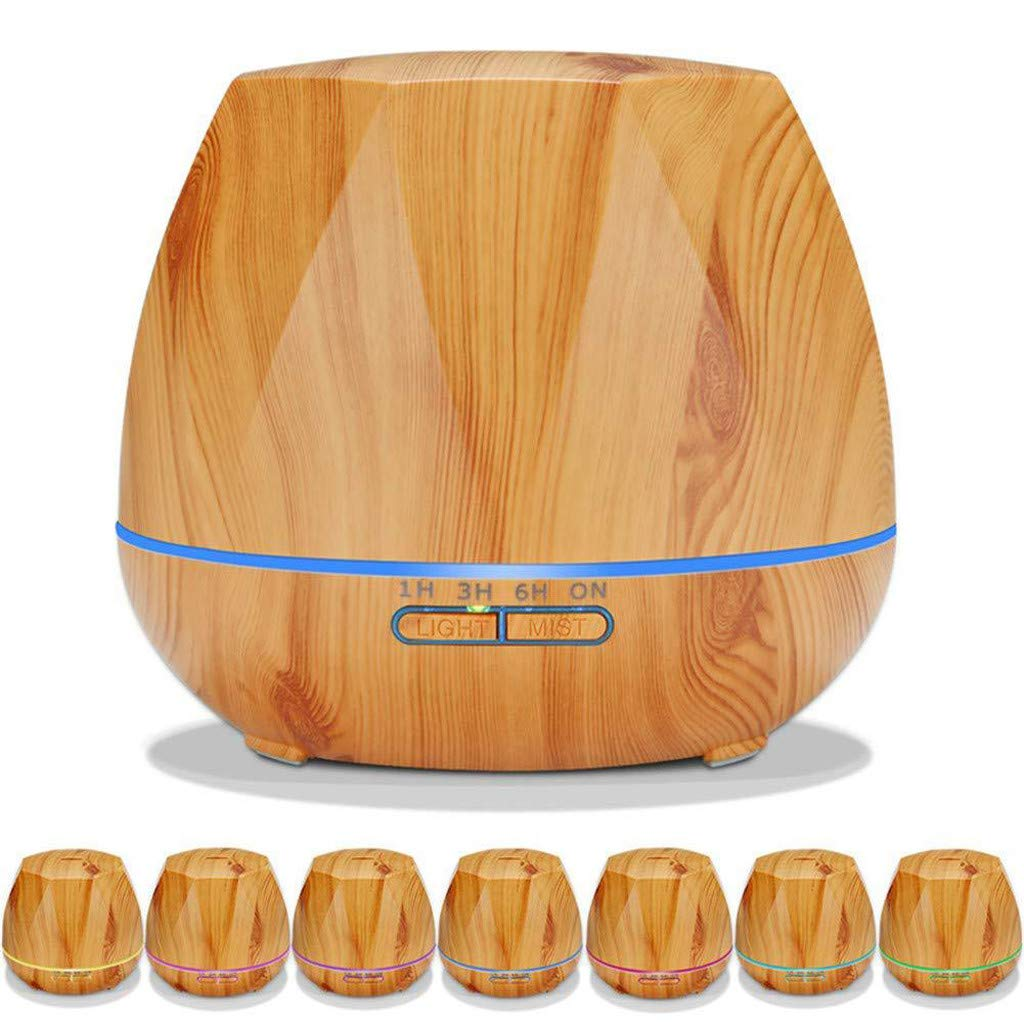 Huhu833 Aroma Diffuser 500 ml Holzmaserung Luftbefeuchter Ultraschall Vernebler, Ultra Leise Diffuser Ö le Diffusor mit LED Humidifier Duftlampe fü r SPA, Yoga, Schlafzimmer, Wohnzimmer,usw. (Gelb)