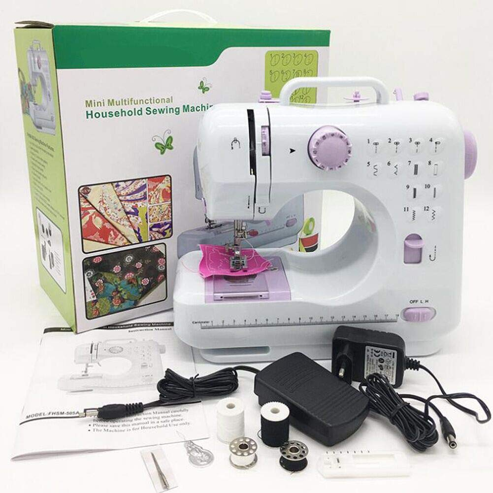 kid\'s Sewing Machine Mini Electric Household Sewing Machine Lightweight for kids with Light Foot Pedal
