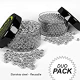 SET of Beads & Flying Saucers Decanters Stainless Steel Cleaning Agents - Reusable, For Glass Containers/Wine Bottles/Carafes /Narrow Spouted Vases/Hard To Reach Spots. Erases Dirt-Limescale-Sediment