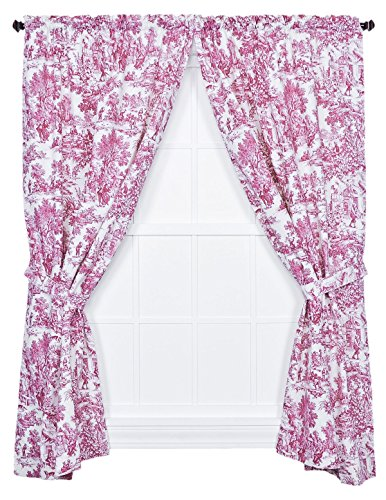 Victoria Park Toile 68-Inch-by-63 Inch Tailored Panel Pair with Tiebacks, (Red Window Treatment)