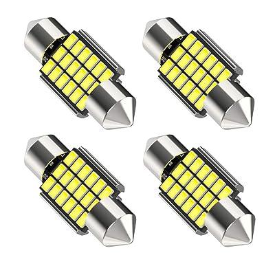 "31mm DE3175 DE3021 LED Bulbs, Canbus Error Free 6000K Xenon White 18smd 3014 Chipset, 3175 6428 DE3022 1.25"" Festoon led light Bulb for Car Interior Dome Map Light, pack of 4: Automotive"