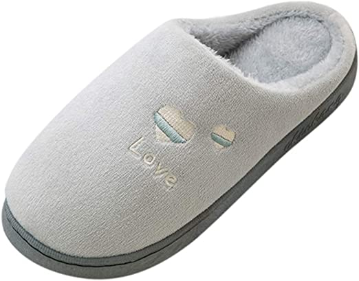 Wadonerful Womens Mens Cotton Slippers Couples Winter Warm Floor Home Slippers Plush Liner Non-Slip Indoor Bedroom Shoes