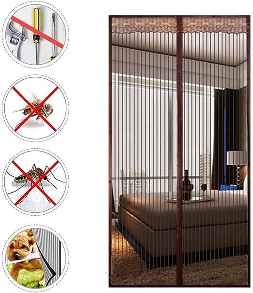 KEOA Cortina Mosquitera Magnética para Puertas, Magnética Fuerte Marco de Velcro Completo Fácil de Instalar para Puertas Correderas Balcones Terraza (Marrón),130 * 220cm: Amazon.es: Hogar