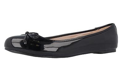 ANDRES MACHADO - Damen Ballerinas - Lack Schwarz Schuhe in Übergrößen,  Größe:42