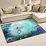 XiangHeFu Area Rugs Doormats Underwater World With Dolphins And Mermaid 5'x3'3 (60x39 Inches) Non-Slip Floor Mat Soft Carpet for Living Dining Bedroom Home