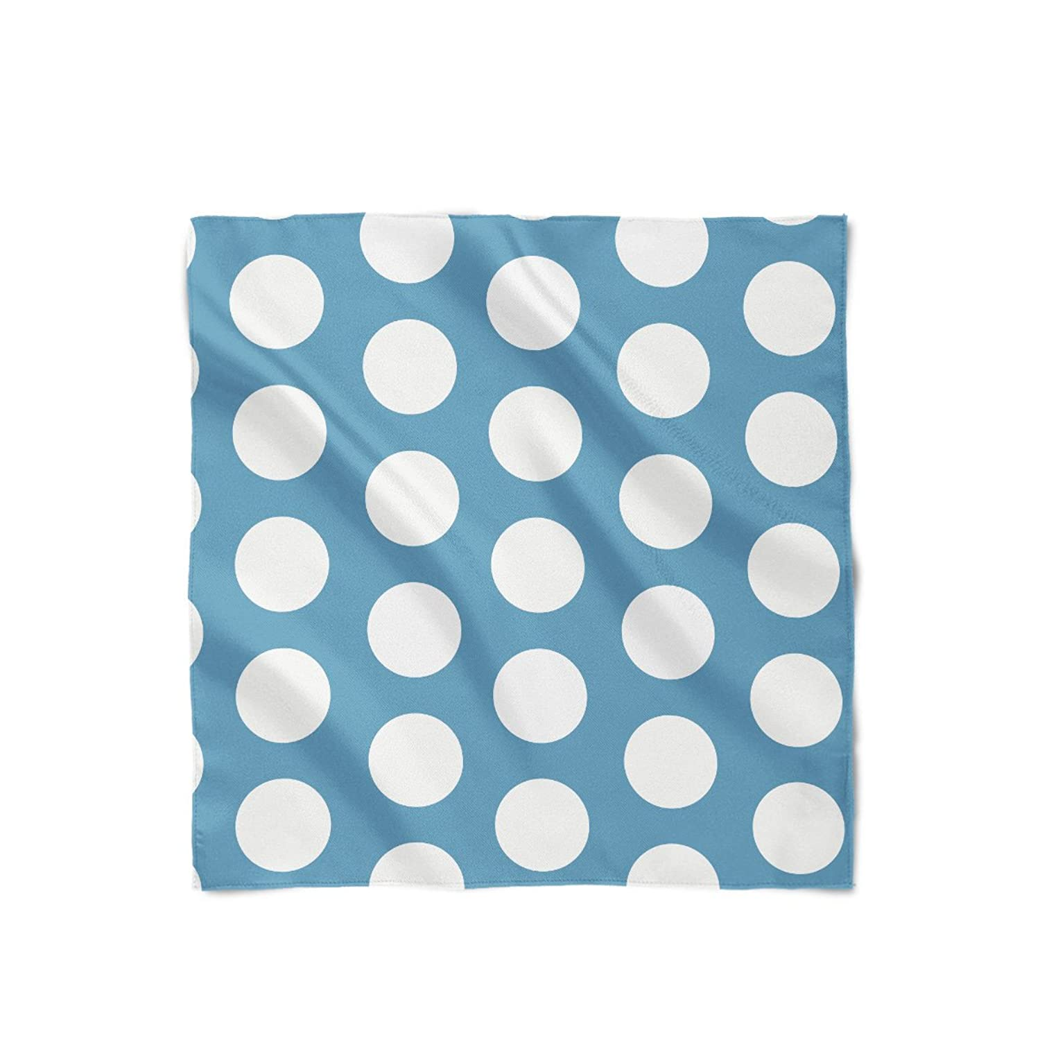Large Polka Dots on Blue Satin Style Scarf