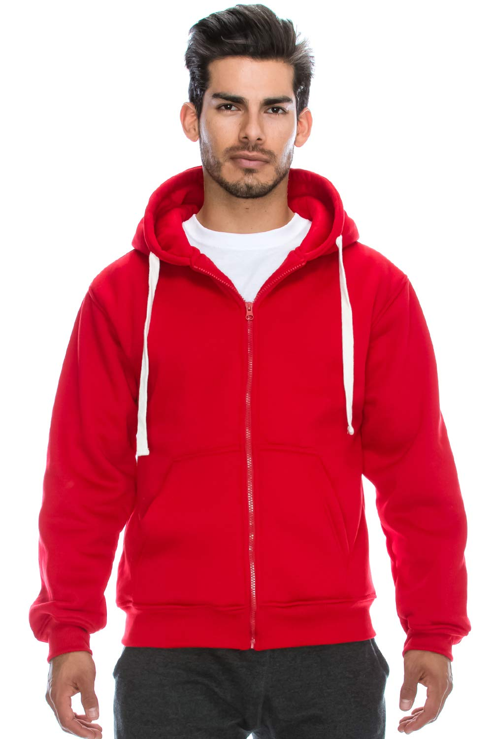JC DISTRO Plus Size Hipster Hip Hop Basic Heavy Weight Zip-Up RED Hoodie Jacket 5XL