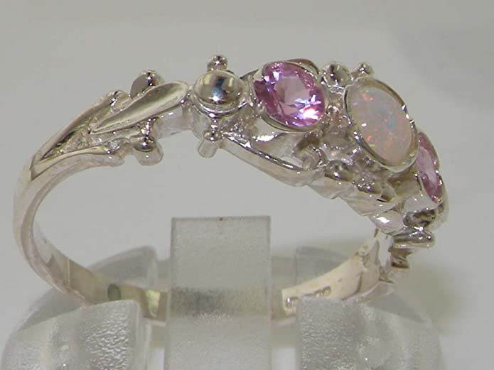 925 Solid Sterling Silver Natural Fiery Opal & Pink Tourmaline English Georgian style Trilogy Ring 09tKXFp