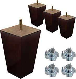 "ComfortStyle Furniture Legs, Sofa Ottoman and Chair 5"" Wood Feet Replacement, Set of 4 Square Tapered Pyramid Feet (Walnut)"