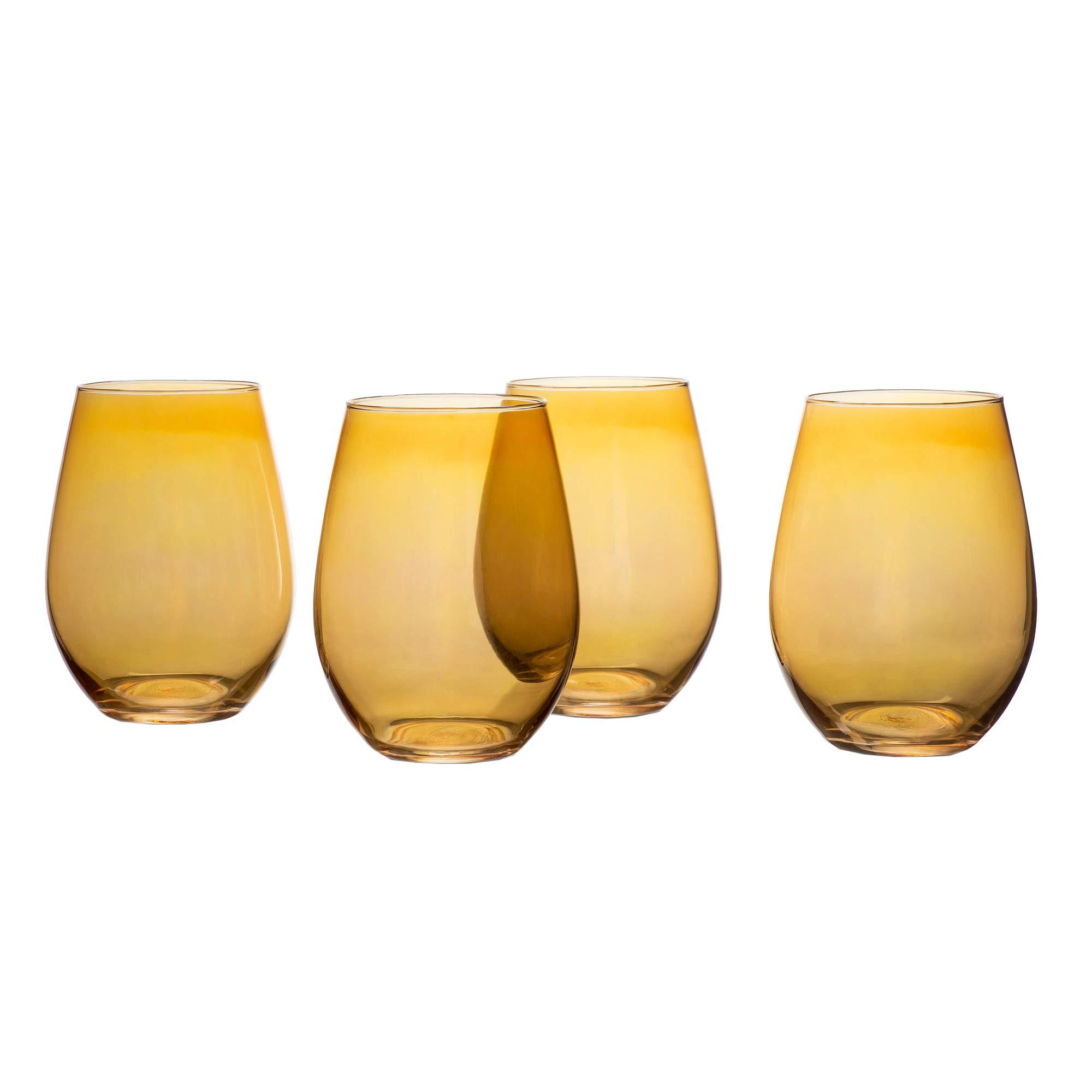 Elle Décor 329173-4ST Luster Set of 4 Stemless Wine Goblets, 19 Ounces, Amber