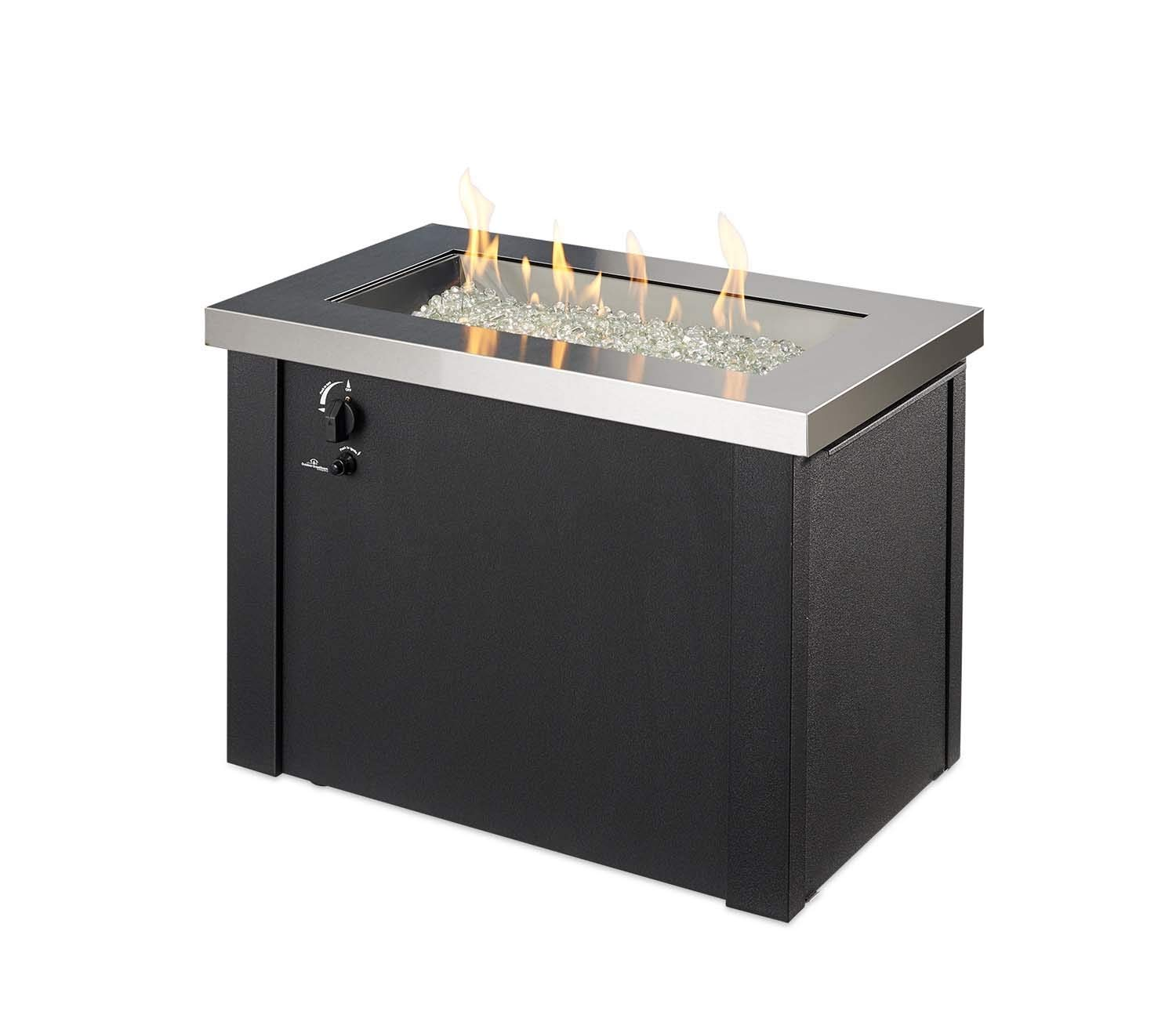 Outdoor Great Room Providence Stainless Steel Crystal Fire Pit Table with Black Metal Base by The Outdoor GreatRoom Company