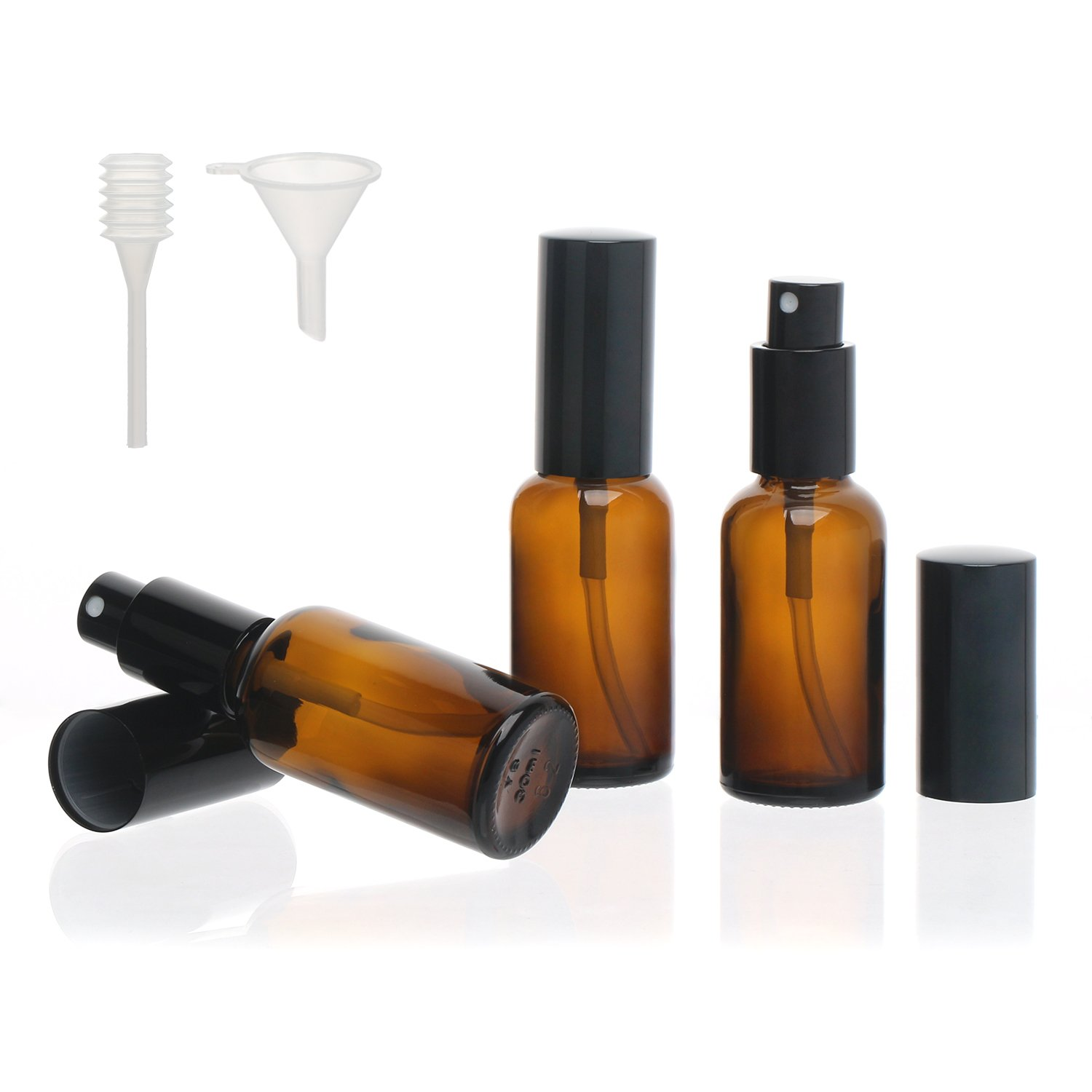 Segbeauty Amber Glass Spray Bottle, 3pcs Fine Mist Travel Bottle Set 30mL Pump Sprayer with Funnel, Empty Cosmetic Travel Container Water Mister for Essential Oil Perfume