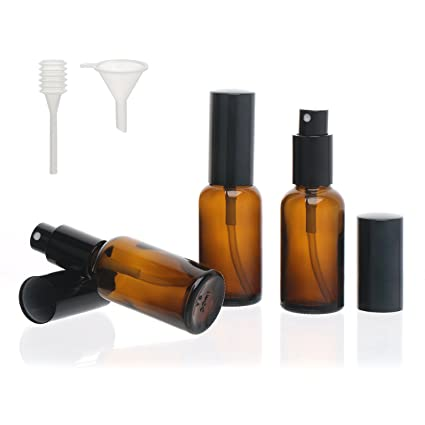 3Pcs 1Oz Amber Glass Spray Bottle Travel Kit, Segbeauty 30Ml