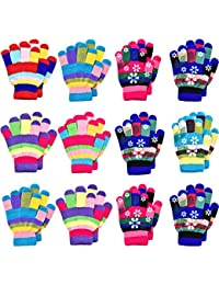 12 Pairs Unisex Kids Gloves Stretch Full Finger Mittens Knitted Gloves Winter Warm Knitted Gloves for Boys and Girls Supplies, Mixed Colors