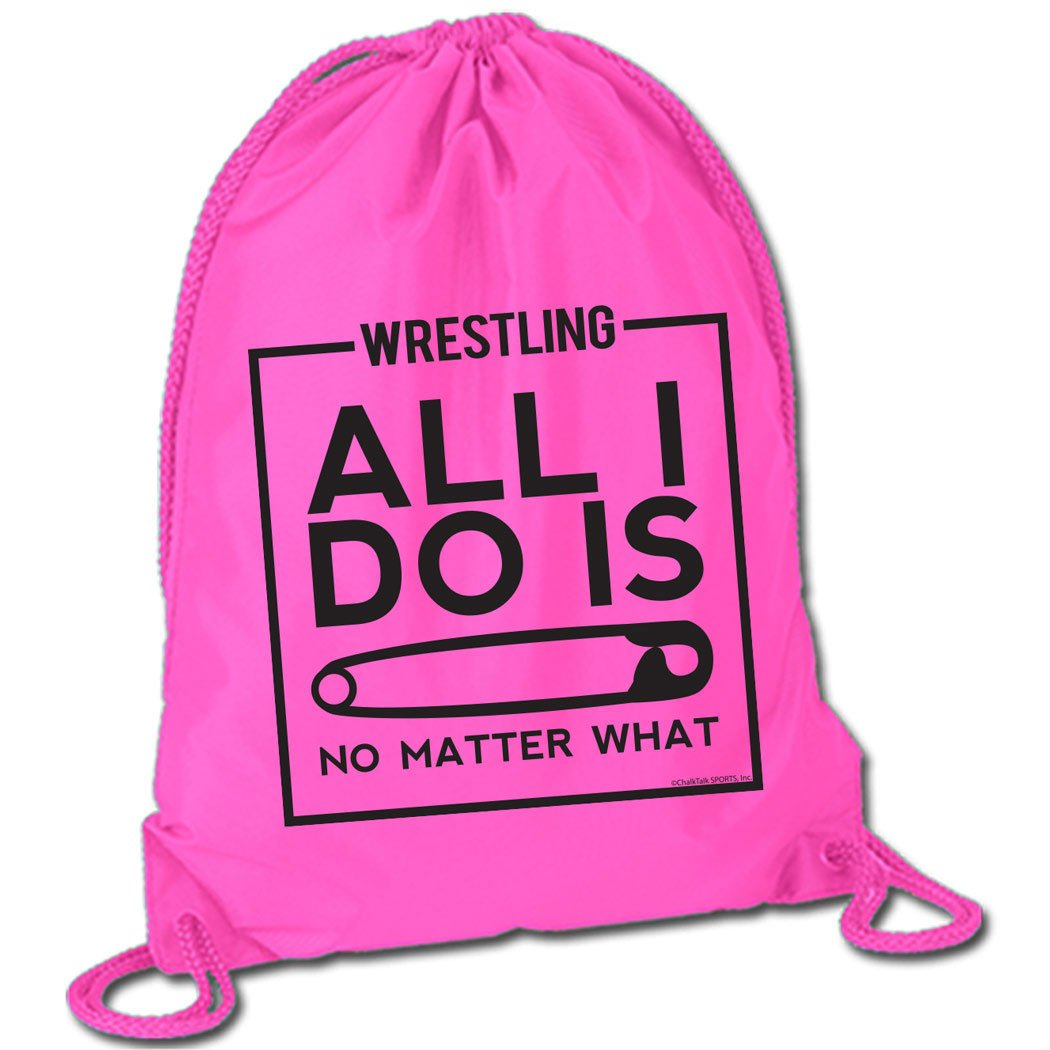 All I Do Is Pin Cinch Sack | Wrestling Bags by ChalkTalk SPORTS | Pink