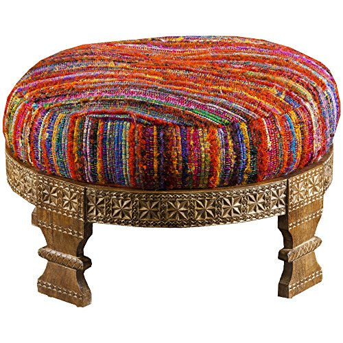 Surya FL1027-767628 Ottoman, 30.4 by 30.4 by 11.2-Inch, Magenta/Sunflower/Poppy/Cobalt/Teal/Lime (Storage Sunflower Stool)