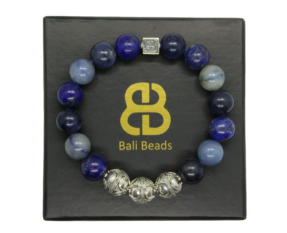 Mixed Blue Stone and Sterling Silver Bracelet, Sodalite, Lapis Lazuli, and Blue Aventurine Bracelet