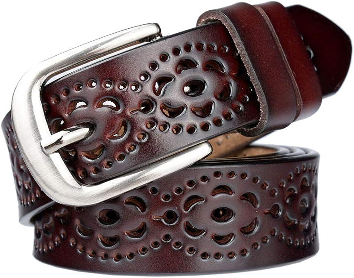 Lalafancy Cinturón de las mujeres de cuero genuino del zurriago de la vendimia Moda diseño floral hueco Cinturón de las señoras con hebilla de aleación para los pantalones vaqueros