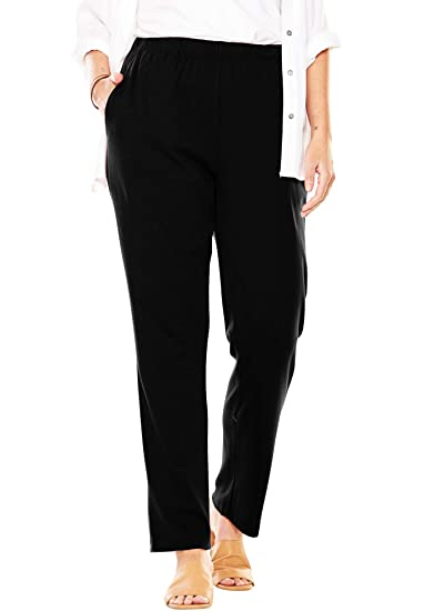 507d657a876 Woman Within Women s Plus Size Tall 7-Day Knit Straight Leg Pant - Black