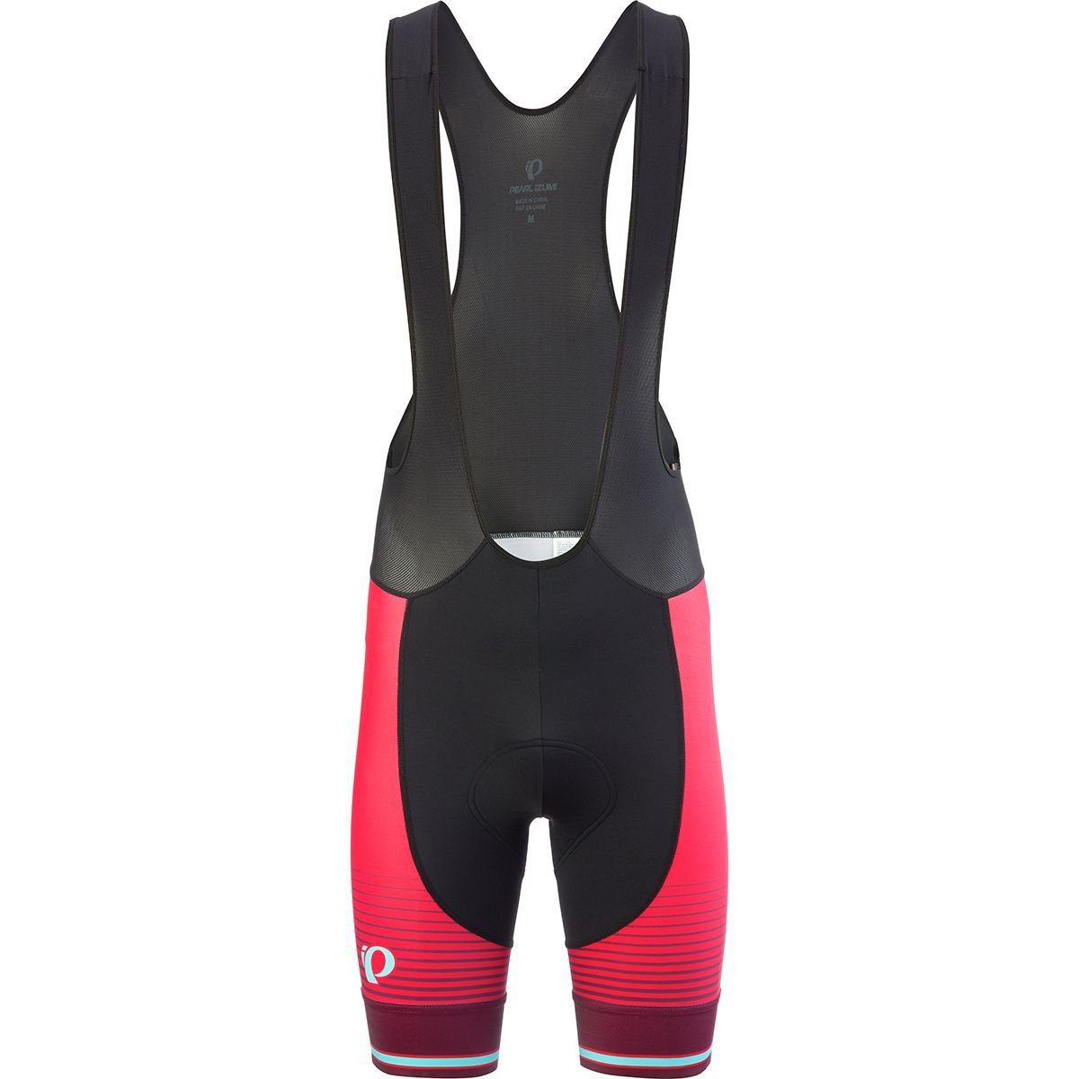 Pearl iZUMi Elite Purs Graphic Bib Shorts, Black/Rogue Red Diffuse, Medium