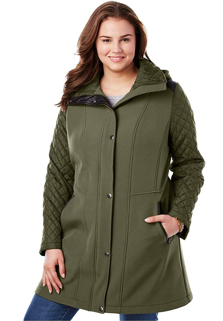 Woman Within Plus Size Mixed Media Hooded Jacket
