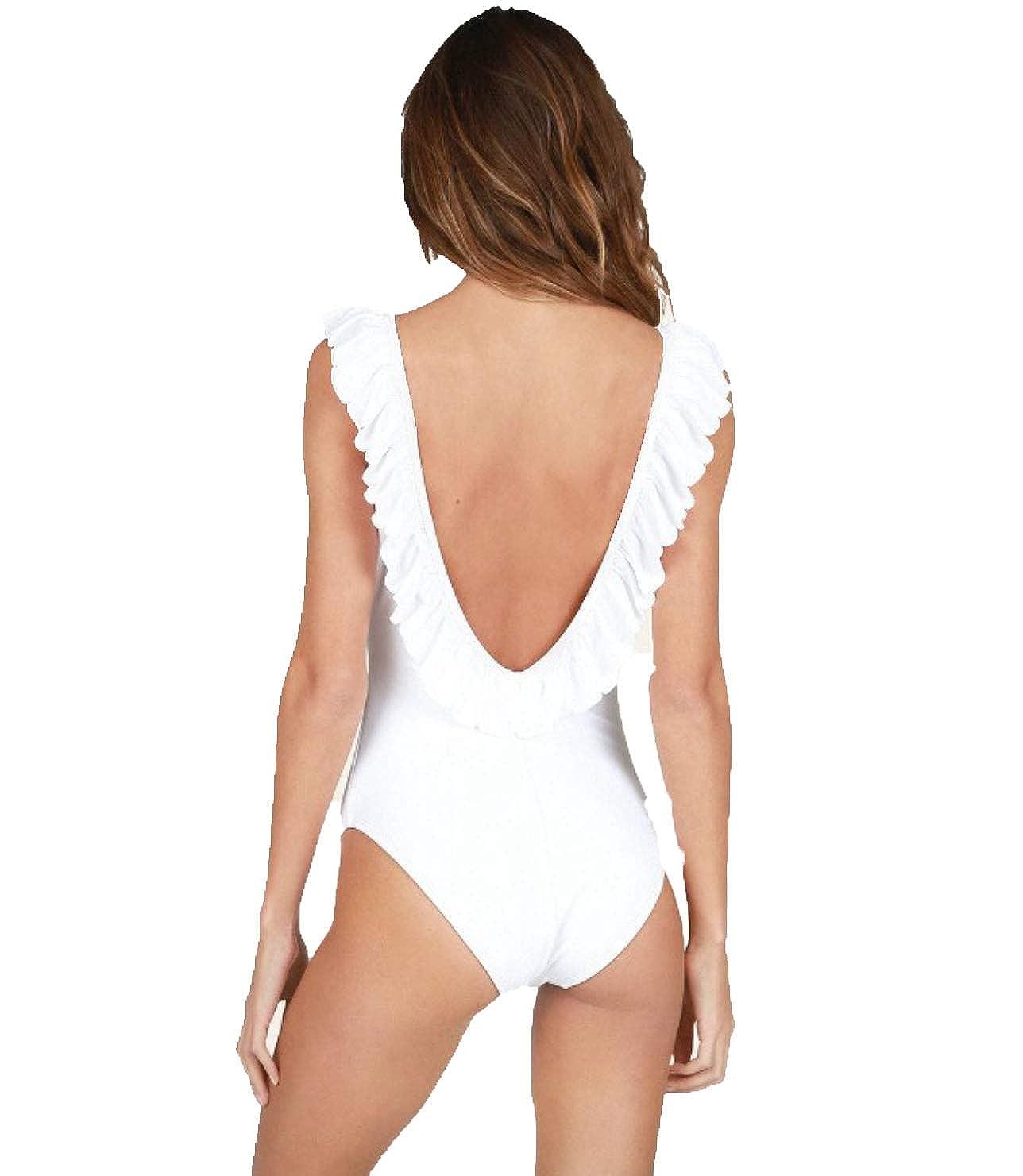 Lolli Sugar Coast Womens Ruffled One Piece Swimsuit White Large