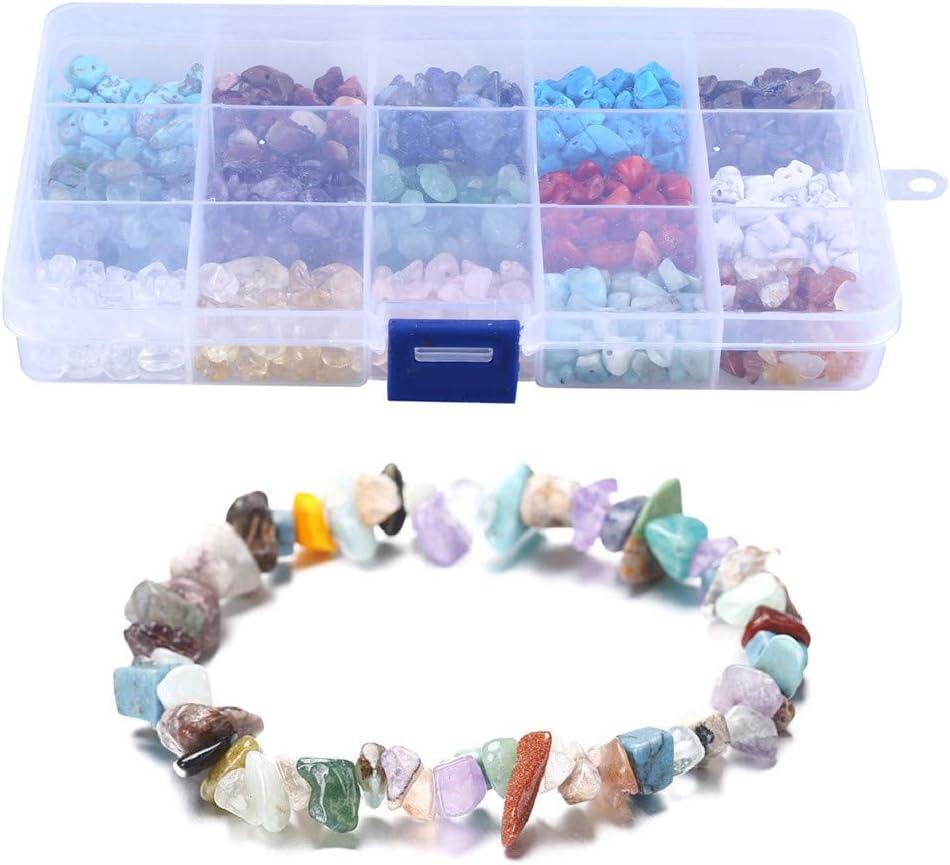 LQKYWNA - Kit de creación de Cuentas de Piedra para Joyas, Collares, Pulseras, Pendientes, con Caja portátil, Piedra de Lava Natural y Cristal curativo Irregular