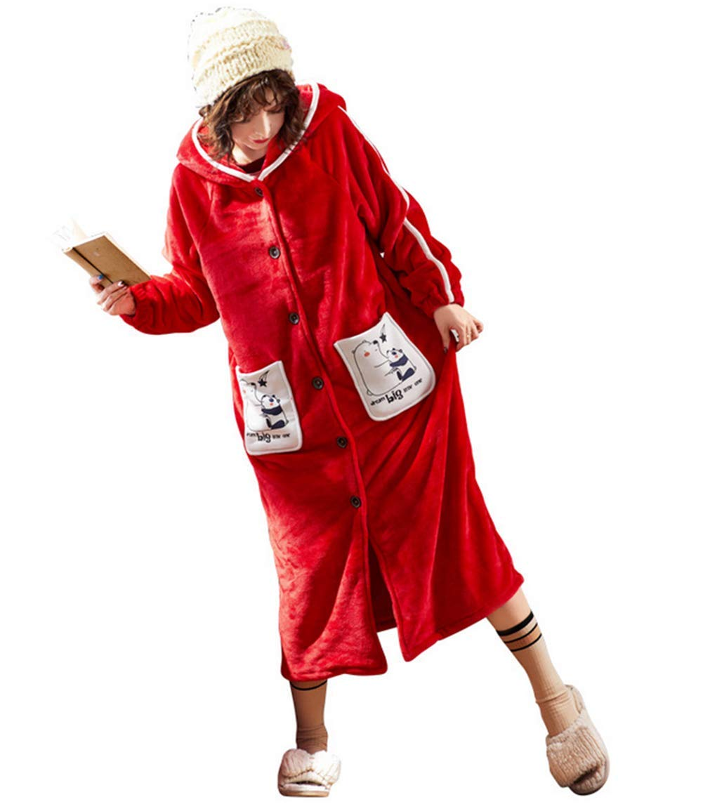 Long nightgown with hood, couple flannel bathrobes,Red,M