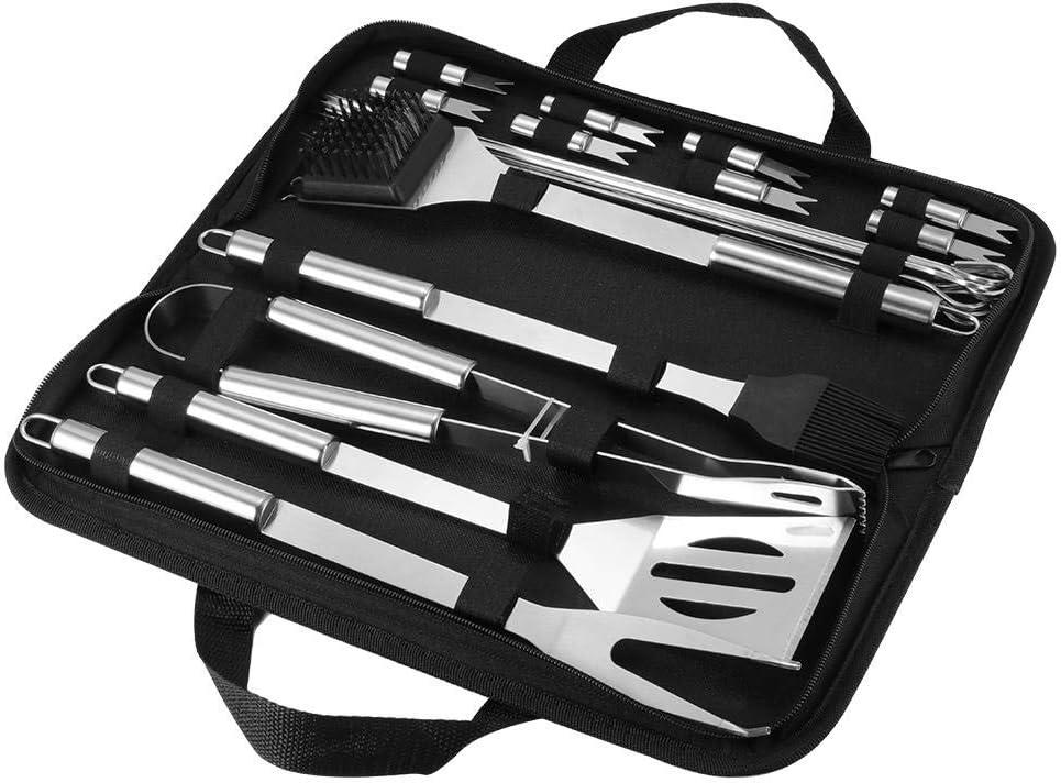 HPPLHome Set di Utensili per Barbecue BBQ Kit di Accessori per Barbecue in Acciaio Inossidabile in Custodia Portatile, 20 Pezzi 16pcs