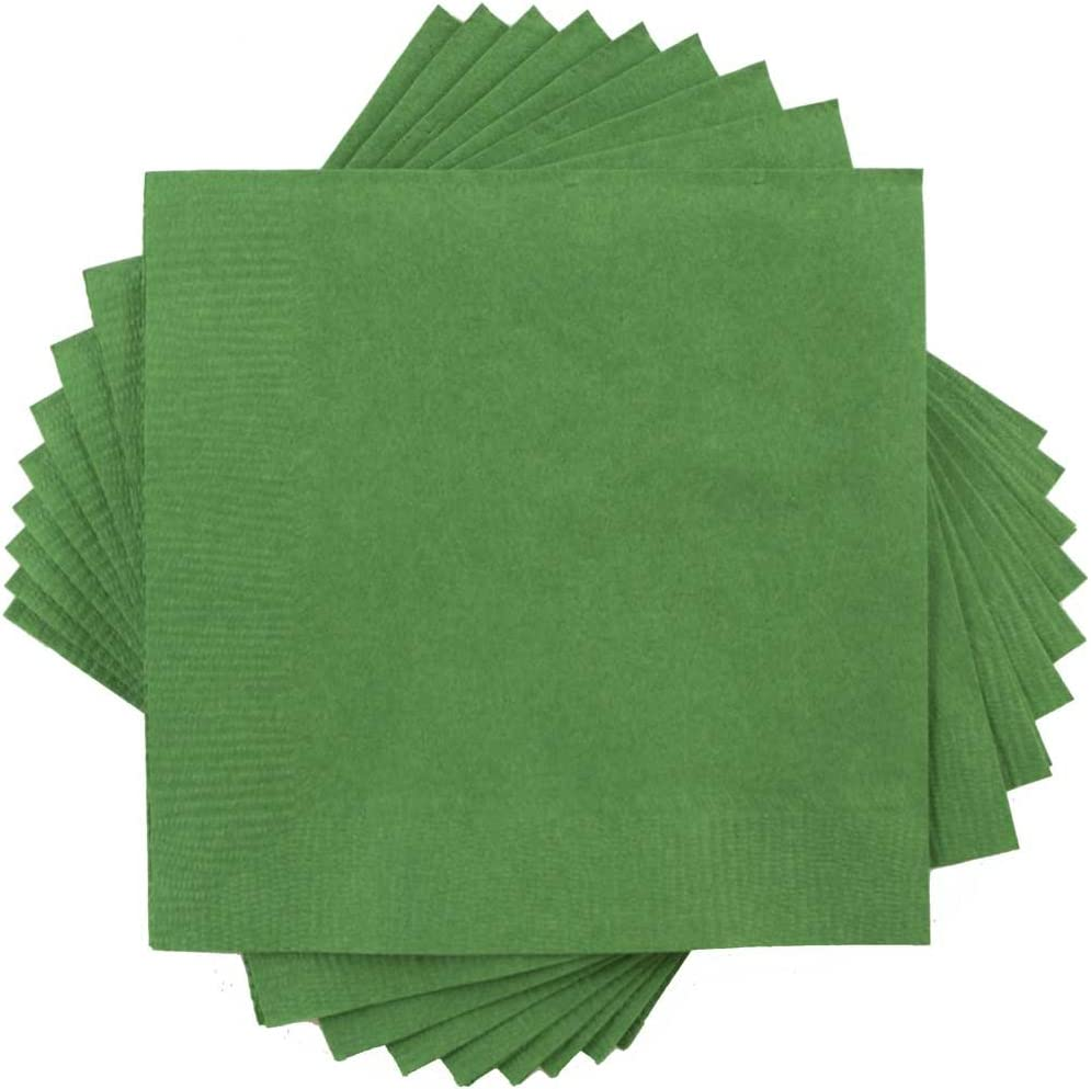 JAM PAPER Small Beverage Napkins - 5 x 5 - Green - 50/Pack