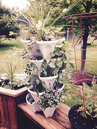 5-Tier Stackable Strawberry, Herb, Flower, Vegetable Planter - Vertical Gardening Indoor/Outdoor Stacking Garden Pots