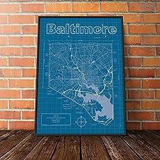 Amazon columbus ohio map blueprint style handmade baltimore maryland map blueprint style malvernweather Choice Image