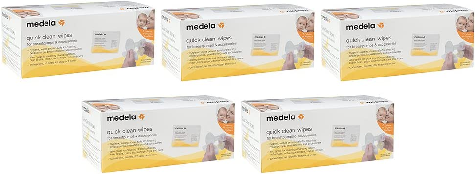 Medela Quick mXspY Clean Breast Pump and Accessory Wipes, 40 Count (5 Pack)