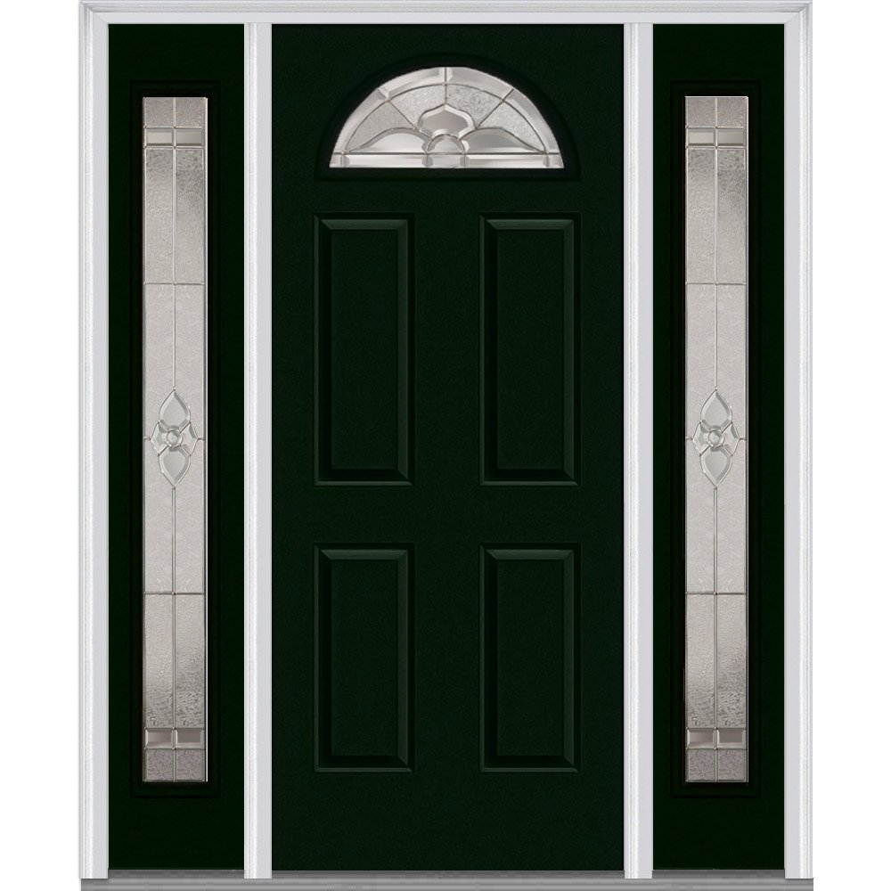 National Door Company Z014044L Fiberglass Smooth, Hunter Green, Left Hand In-swing, Exterior Prehung Door, Master Nouveau, 1/4 Lite 4-Panel, 36'' x 80'' with 12'' Sidelites