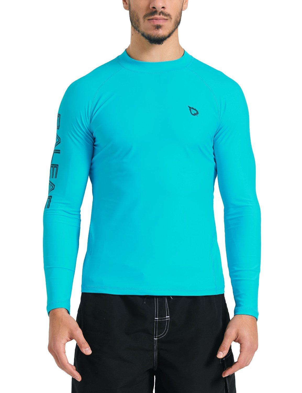 Baleaf Men's Basic Long Sleeve Rashguard UV Sun Protection Athletic Swim Shirt UPF 50+ Blue M by Baleaf