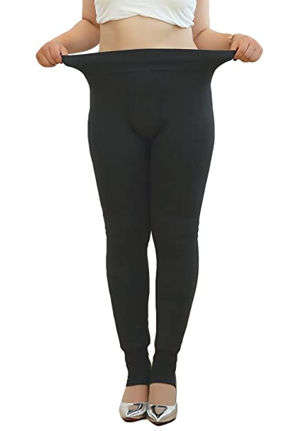 dbf119b891e21 Womens Fleece Lined Thermal Leggings Winter Warm Thick Stirrupped Pants,  Regular and Plus Size Black