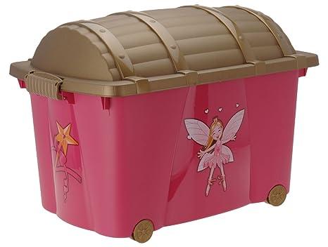 Caja para juguetes (Multi Box) con ruedas para niños y niñas rosa ...