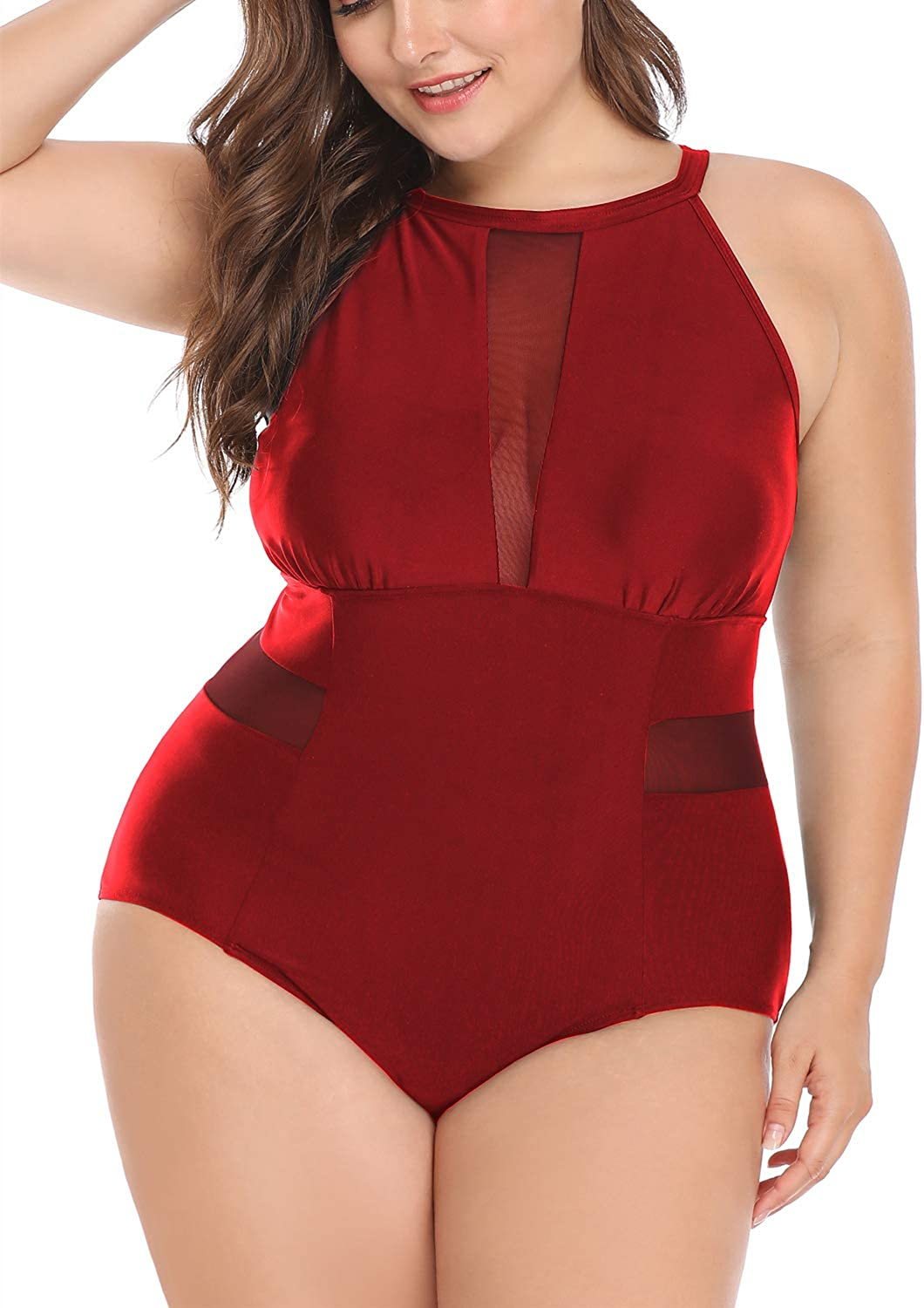 Daci Plus Size One Piece Swimsuit for Women High Neck Plunge Mesh Cutout Monokini Swimwear