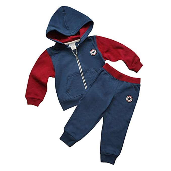 6e788e375 Converse New Baby-Boys Hoodie and Pant Plain Clothing Set, Red Navy, 1-2  Years: Amazon.co.uk: Clothing