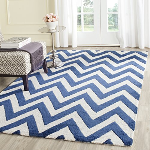 Safavieh Cambridge Collection CAM139G Handmade Moroccan Geometric Navy and Ivory Premium Wool Area Rug (8′ x 10′)